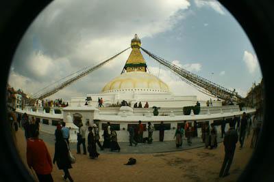 Bodnath Stupa durch ein Fisheye aufgenommen